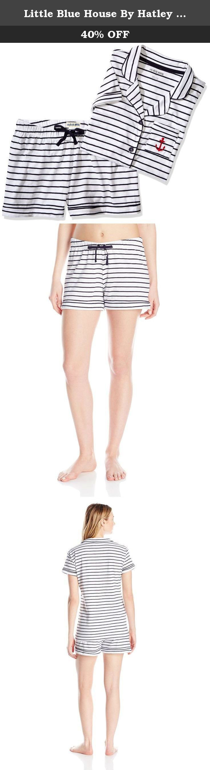 Little Blue House By Hatley Women's LBH Ladies Pajama Tee Set - Nautical Stripe Set,Nautical Stripes, Large. The classic pajama shirt reinvented with contrast trim, button front and handy chest pocket. Perfectly paired with our drawstring boxer shorts also contrast trim.