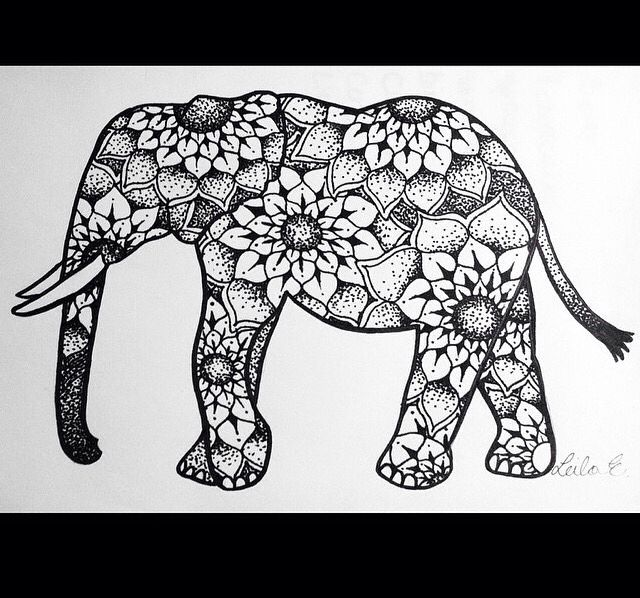 mandala elephant coloring pages easy - photo#13