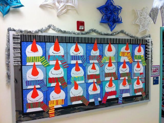 Mural dels ninots de neu de la classe