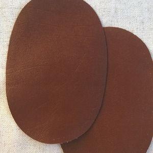 Paire de coudière/genouillère 16cm x 11cm en similicuir Marron ,à coudre Grand modèle