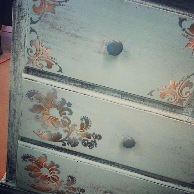 Tiffany Blue dresser with 3 dimensional stenciling