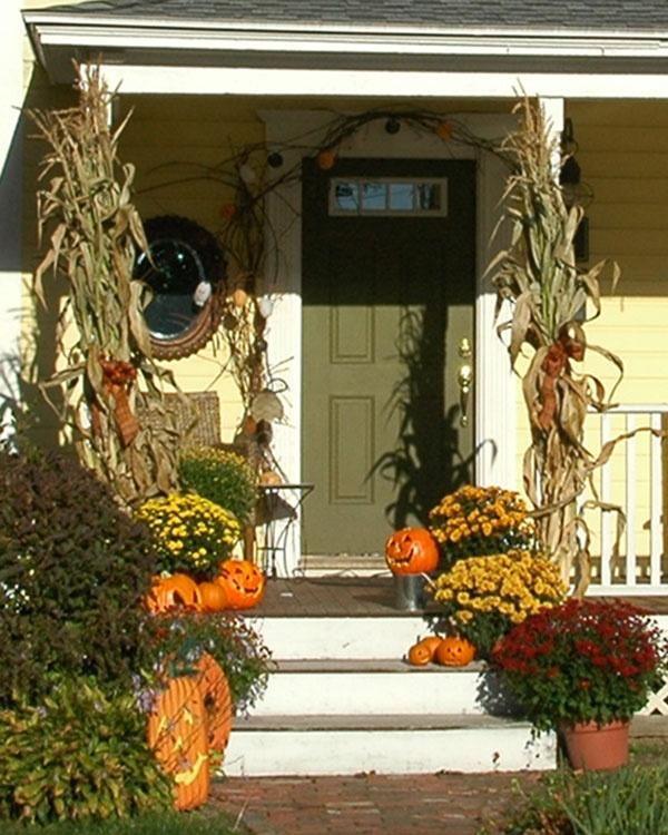 Corn Stalk Decoration Ideas: New England Front Porch Fall Decorations. A Garland, Corn