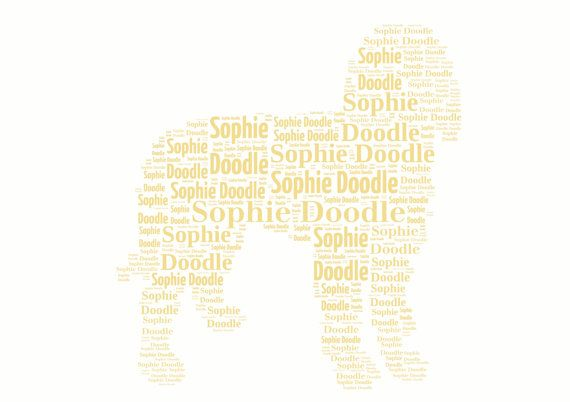 Golden Doodle Dog Personalised Unframed Print    This item is a truly personal gift for the dog lover in your life.    Please provide a list of 10-30 words and short phrases and your colour   preferences and I will create you a bespoke piece for your Golden doodle   fan.      Golden Doodle, Dog Portrait, Dog Lover Gift, Dog Memorial, Custom Dog   Gift, Dog Art    www.pepperdoodels.co.uk