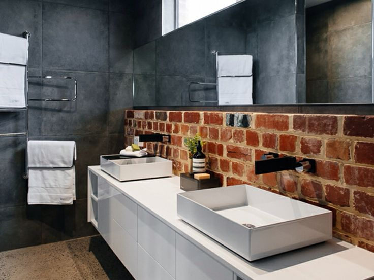 exposed brickwork polished concrete ceaserstone vanity matte black tapware white alape basins