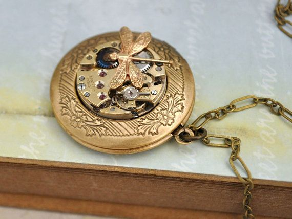TIME TRAVELER, antique brass watch/photo locket necklace with tiny dragonfly