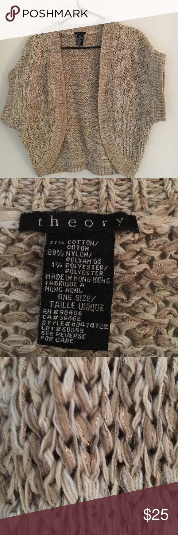 Theory Shrug Sweater gold and cream Adorable little theory shrug sweater. The tag reads: one size, but I would say it's a s/m. This piece is so cute to layer for spring or to have on hand for a cooler summer evening. Theory Sweaters Shrugs & Ponchos