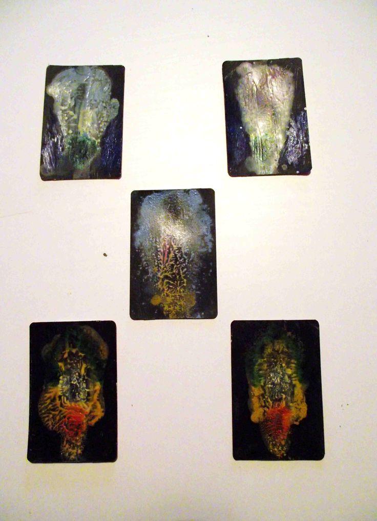 Five train ticket paintings . oil  .  Philip Weaver
