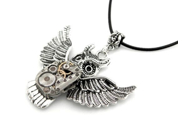 Halloween Owl Necklace  Steampunk Halloween  by SteamSect on Etsy
