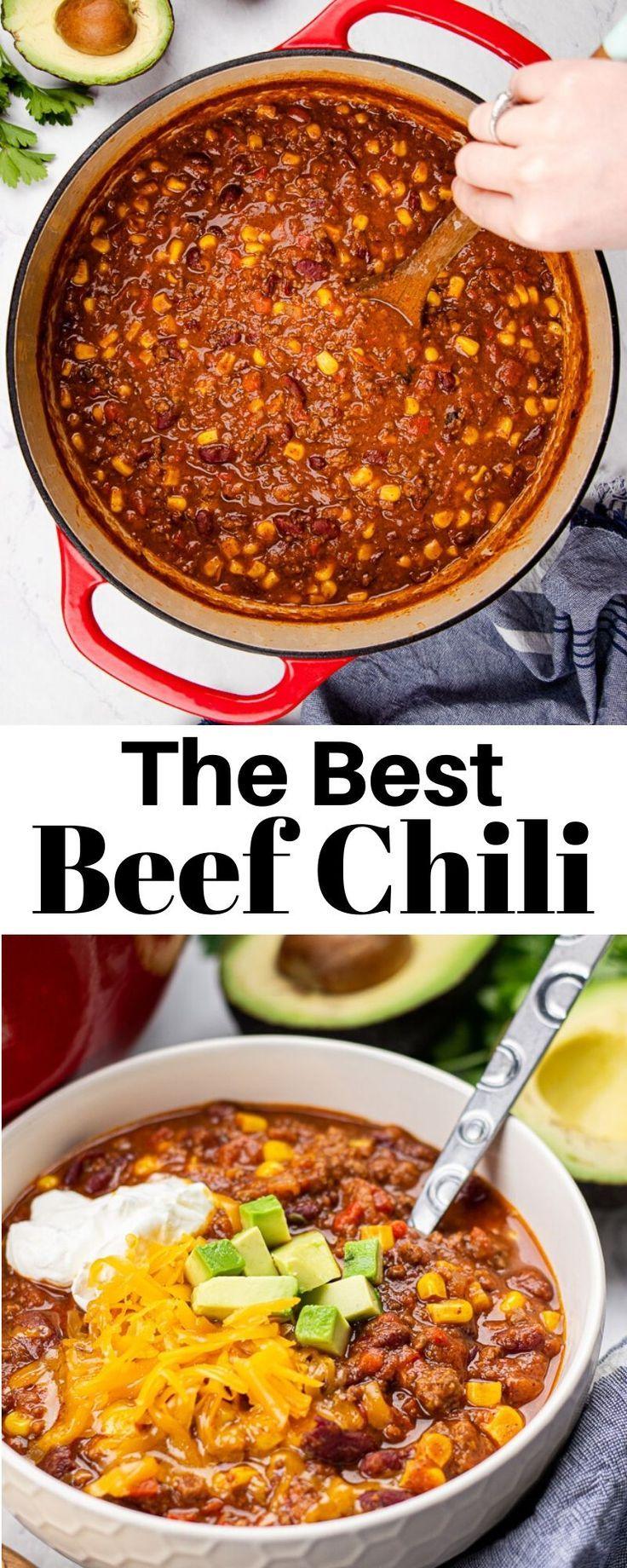 Best Beef Chili Recipe Veronika S Kitchen Recipe In 2020 Beef Chili Chili Recipes Beef Chili Recipe