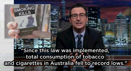 With mention of Australia's strict anti-smoking laws which mandate plain packaging, Oliver described the drastically falling sales – in contrast with the rest of Asia, which the tobacco industry has targeted. | Watch John Oliver Destroy The Tobacco Industry In His Latest Tirade