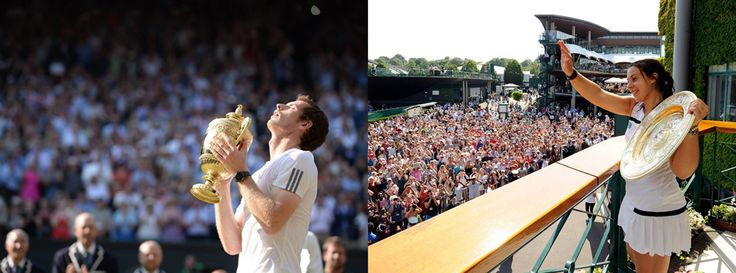 Wimbledon 2013 Champions - Andy Murray swept away 77 years of Wimbledon hurt after beating Novak Djokovic. Meanwhile, the 28-year-old Marion Bartoli wins her 1st grand slam title against Germany's Sabine Lisicki. Credit: facebook.com/wimbledon