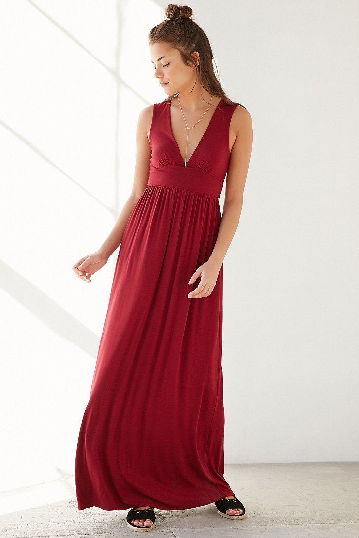 Ecote Deep-V Empire Waist Maxi Dress