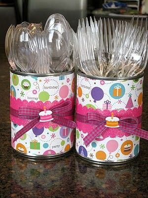 Great idea for a party - get some old cans, cover them with paper and fill them with plastic cutlery
