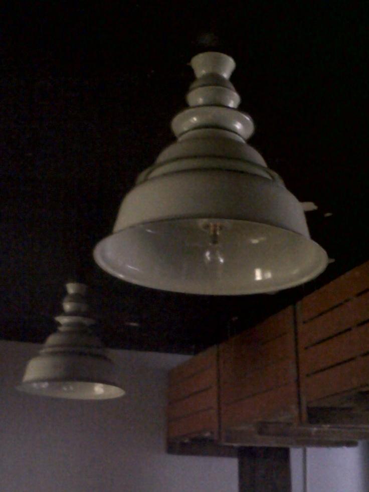 glue enamel bowls together for a stunning lamps