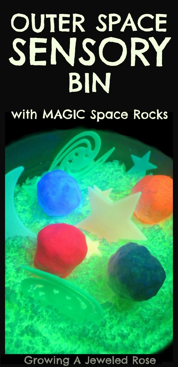 GLOWING Outer Space Sensory Bin- with space rocks, alien eggs, and MOON Dough!