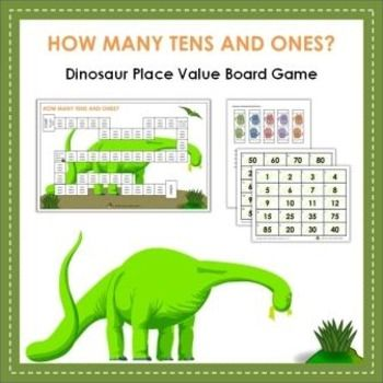 Practice tens and ones place value with this fun Dinosaur themed board game. Use as a small group activity or works great as a center. Make multiple copies of the materials for a whole class activity. Another option is for the teacher to distribute the blank card sheets to students - the teacher then reads a number and asks how many tens or ones - the student writes their answer on the blank card.