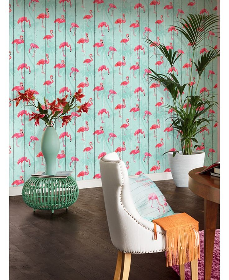 A stunning flamingo themed wallpaper Ideal for feature walls and entire rooms 10.05m (32.9 ft) long x 53cm (1.73ft) wide