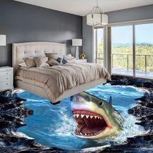 Frete grátis tubarão 3d pintura piso engrossado não-deslizamento de banho sala de estar cozinha quarto café piso casa mural(China (Mainland))