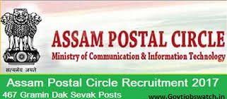 Apply now Assam Postal Circle Recruitment 2017, Assam Post Office 467 GDS Vacancy - Online Application Form - appost.in, AP Post office Jobs 2017