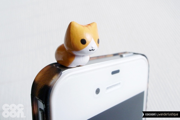 SALE30%OFF: Cute Crouching Kitten iPhone Plug . Phone Charm . Phone Plug . Dust Plug // Hand Painted, Cat, Kawaii, Girly, Tiger Kitten. $4.20, via Etsy.
