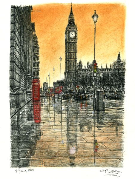 Big Ben on a rainy evening - Limited Edition of 100 - drawings and paintings by Stephen Wiltshire MBE