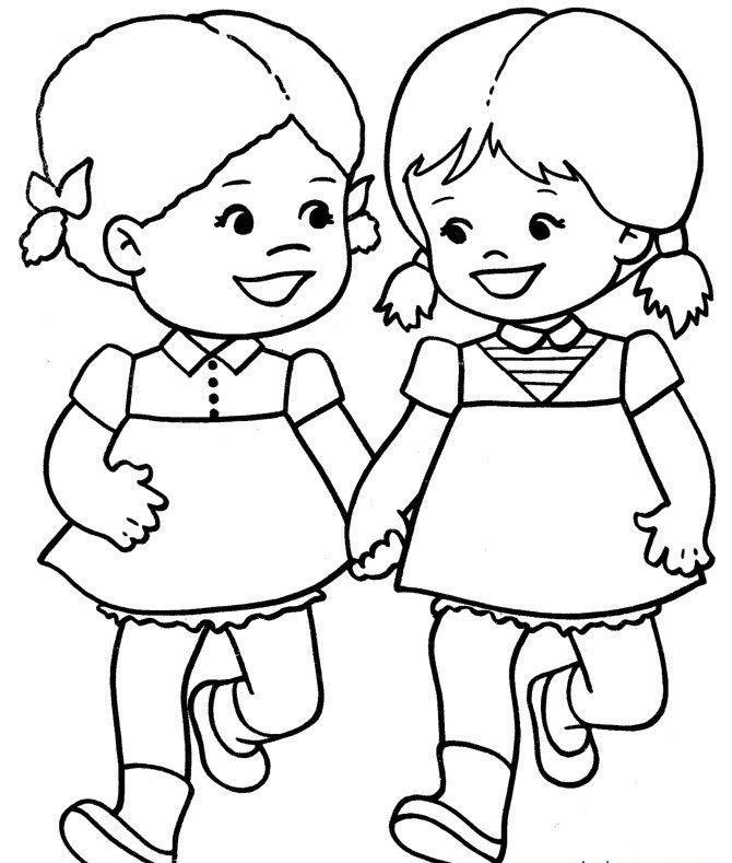 Arkadaşlarımı Seviyorum Konulu Boyama Sayfası - Okul Öncesi Etkinlik Kütüphanesi - Madamteacher.com