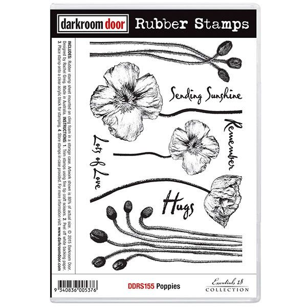Rubber Stamp Set - Poppies - Darkroom Door - New!