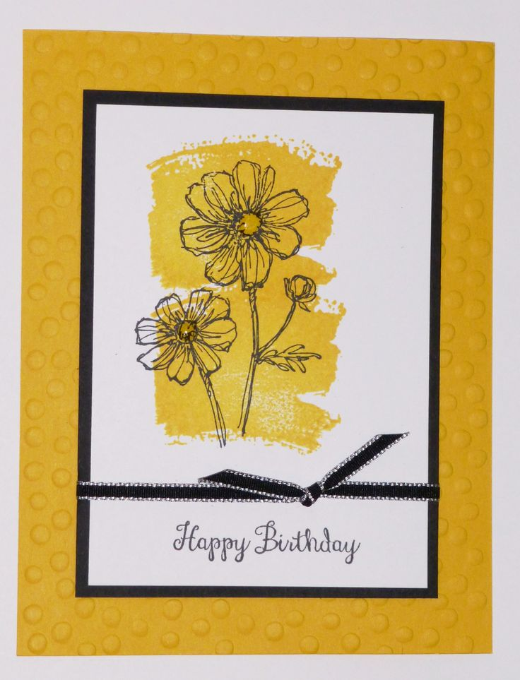 Happy Birthday card using Stampin' Up!'s Bloom with Hope hostess stamp set and the Work of Art stamp set.  For information regarding my stamp classes, please check www.lindamadison.stampinup.net.