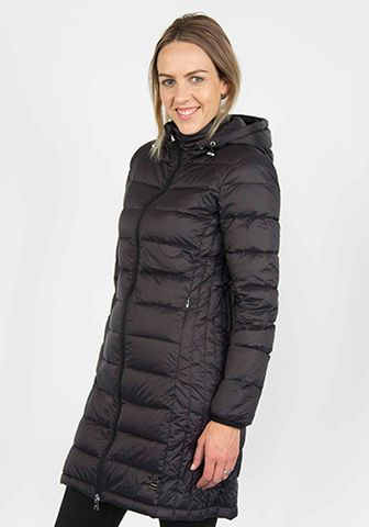 Moke Long Quilted Jacket - Black