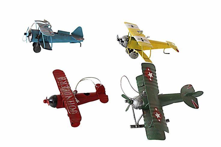 Yricas Design Metal Yang's Vintage Aircraft .set of 4