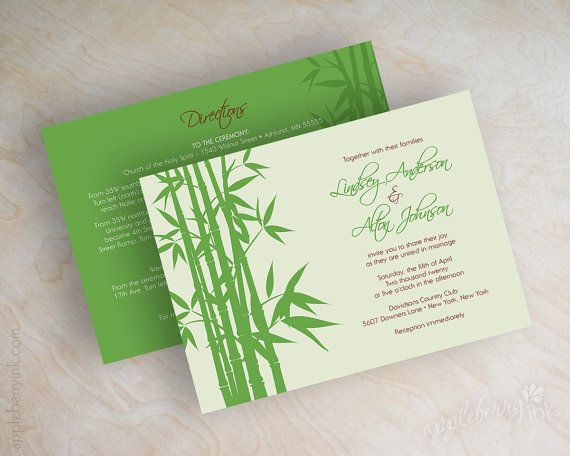 13 best Invitations images on Pinterest Bamboo Wedding stationery