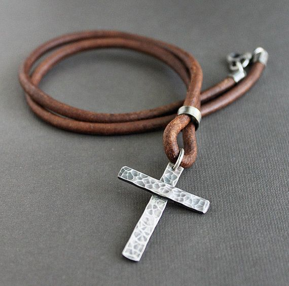 Rustic Sterling Silver Cross and Leather Cord Necklace
