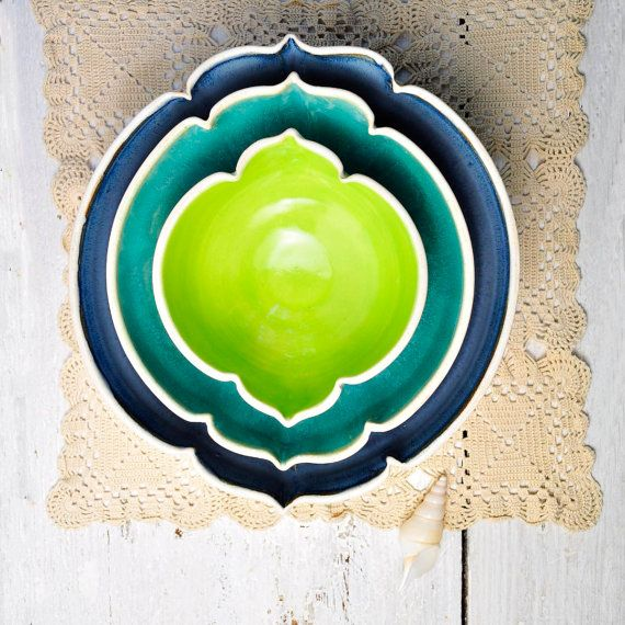 large ceramic nesting bowls ombre geometric vessels in Beach Cottage Arabesque series set Indigo, turquoise, neon green