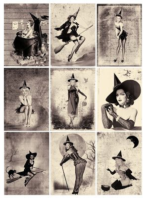 Free Sexy Pin Up Halloween Witches ATC Background