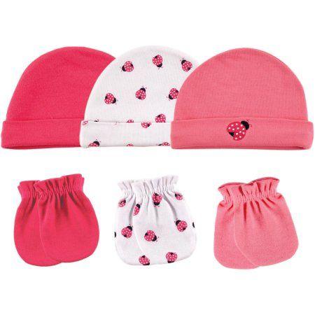 Luvable Friends Newborn Baby Girl Cap 3-Pack & Mitten 3-Pack, Size: 0 - 6 Months, Pink