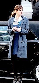 Dakota Johnson filming for Fifty Shades of Grey