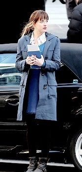 Dakota Johnson filming for Fifty Shades of Grey