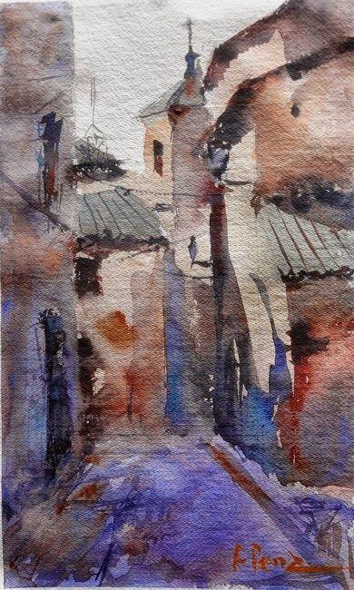 Fernando Pena - Por Las Calles de Toledo: Acuarela en papel artesanal, uno de los tantos rincones de Toledo, un sitio histórico que atrapa