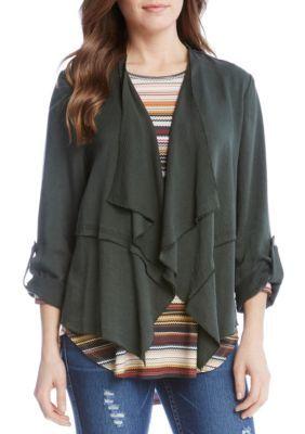 Karen Kane Women's Roll-Sleeve Drape Jacket - Olive - Xs