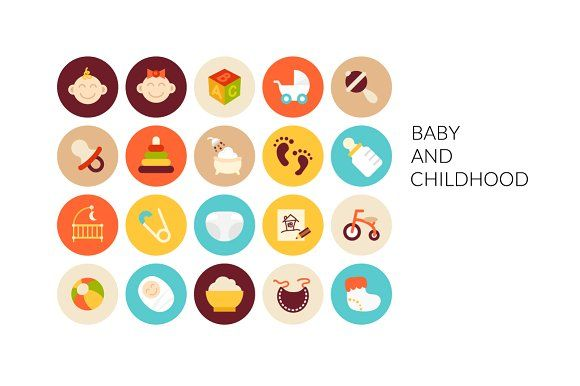 Flat icons set - Baby and Childhood by sidmaydesign on @creativemarket
