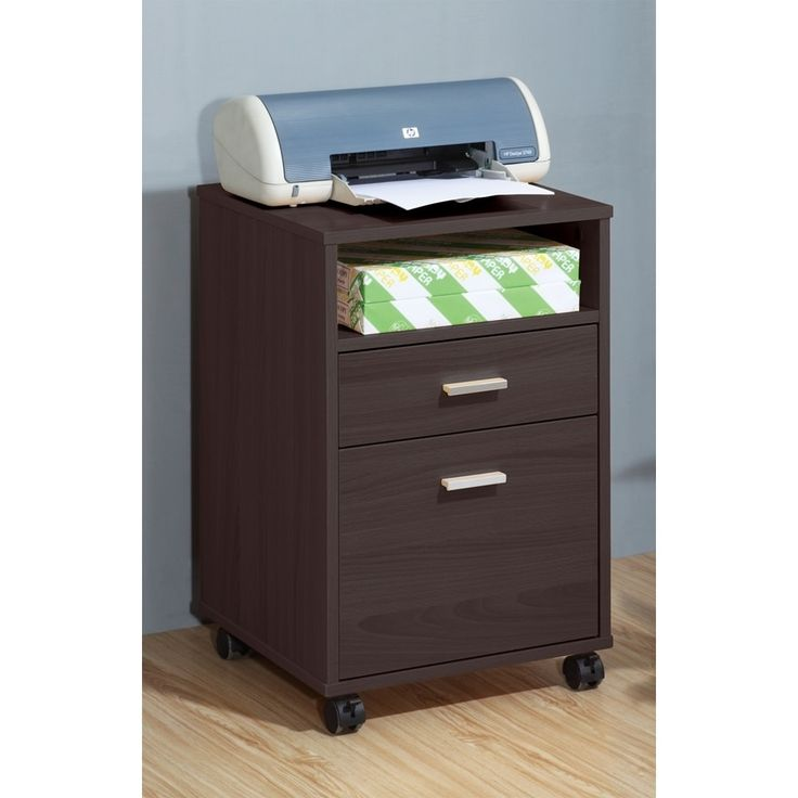 Sintechno S-ID11491 Mobile Printer Stand with Storage Cabinet, Brown