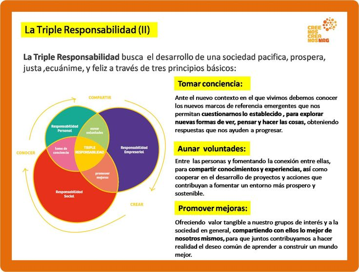 PRINCIPIOS BÁSICOS DE LA TRIPLE RESPONSABILIDAD  La Triple Responsabilidad busca el desarrollo de una sociedad pacifica, prospera, justa ,ecuánime, y feliz a través de tres principios básicos:   más en  www.creemoscreamosnrg.com www.responsabilidadsostenible.com www.ciudadsabia.org