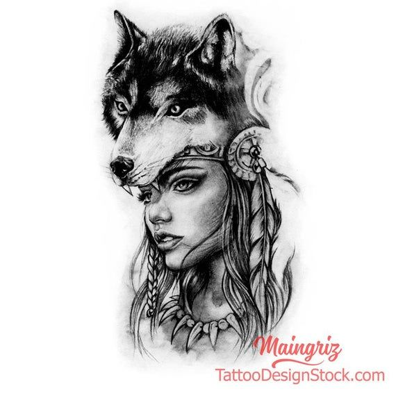We Are Drawing Your Tattoo 15291 Drawings Already Created From A Simple Idea We Create Your T In 2020 Wolf Girl Tattoos Wolf Tattoos For Women Native Tattoos