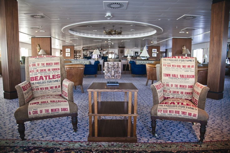 Fabulous Beatles chair covers made especially for Saga Sapphire  #cruise #travel #interiors #TheBeatles #design