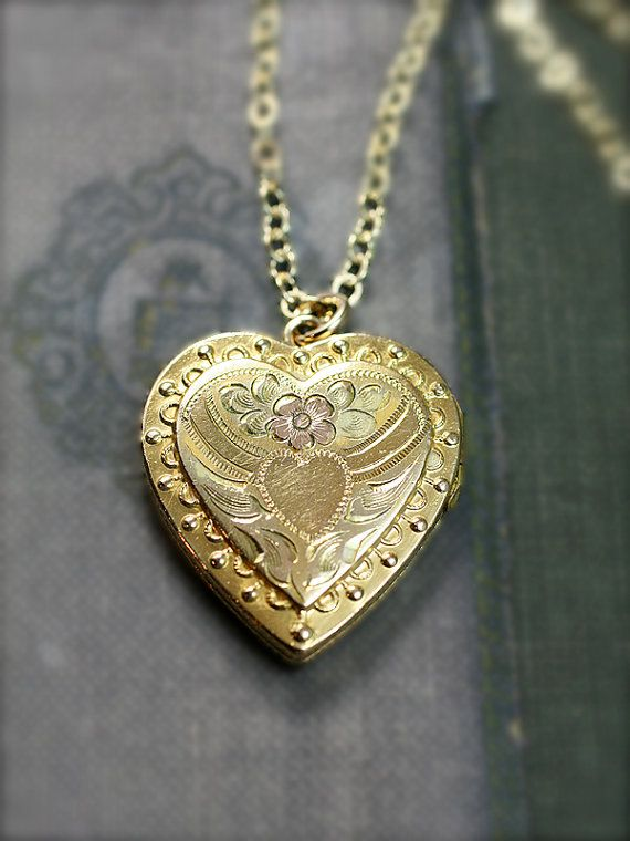 Gold Heart Locket Necklace, Vintage 12K Gold Filled Hayward Vintage Locket - Young at Heart