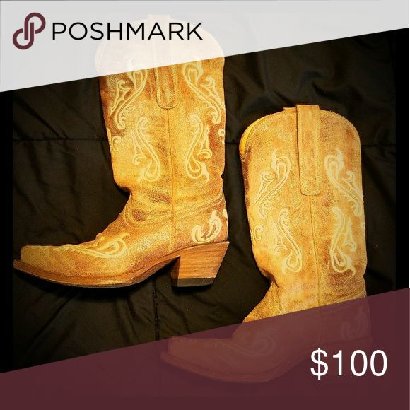 Coral Boots Handcrafted boots made with high quality leather. Stylish, distressed, brown & tan leather, filigree embroidery, single welt stitch, and snip toe Coral Shoes Heeled Boots