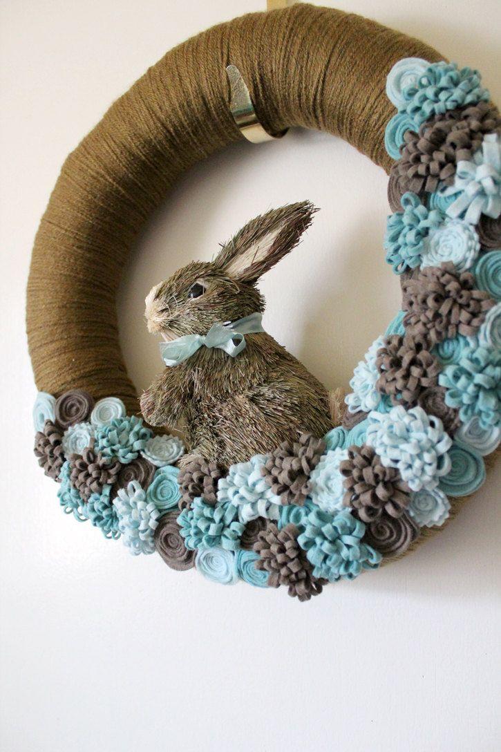 Blue Bunny Wreath, Easter Wreath, Rabbit Wreath, Spring Wreath, Yarn and Felt Wreath