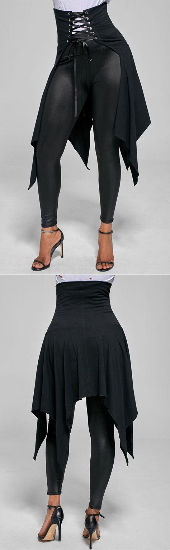 Asymmetrical High Waist Lace Up Front Slit Skirt
