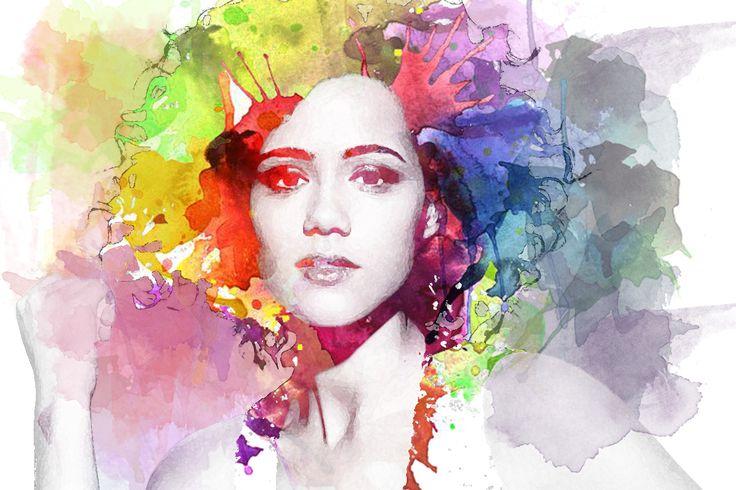 Nathalie Emmanuel watercolor effect acquerello