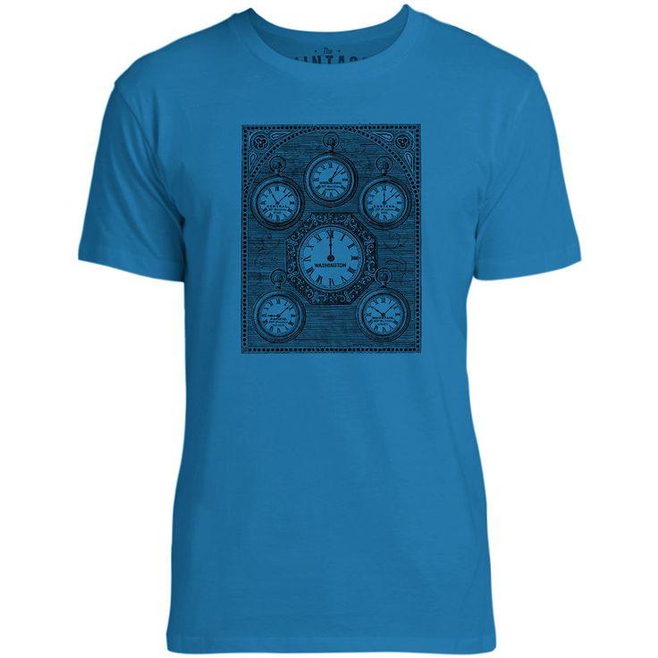 Mintage Antique International Clock Mens Fine Jersey T-Shirt (Cobalt)